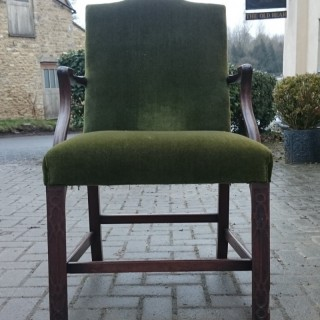 19th Century Mahogany Gainsborough LIbrary Chair In The Manner Of Chippendale