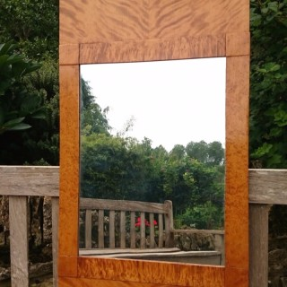 Antique Biedemeier Satin Birch Wall Mirror From 1820