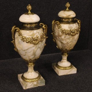 20th Century Pair Of French Potish Vase In Marble