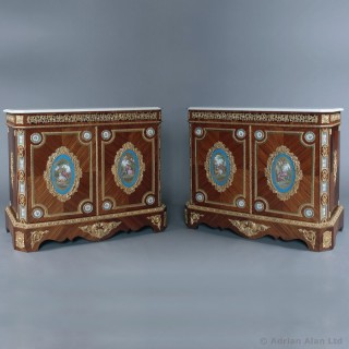 Pair of Gilt-Bronze Mounted Kingwood Side Cabinets
