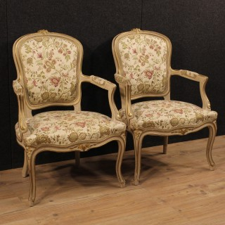 20th Century Pair Of Italian Lacquered And Gilded Armchairs