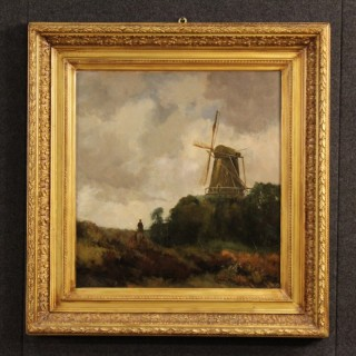 19th Century Dutch Landscape With Windmill Painting