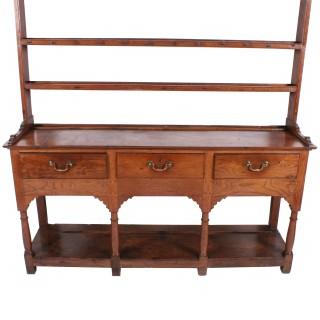 Georgian Oak Dresser and Rack