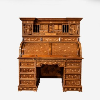 A magnificent Japanese marquetry and parquetry cylinder desk