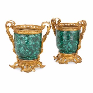 Pair of ormolu mounted malachite antique French cachepots