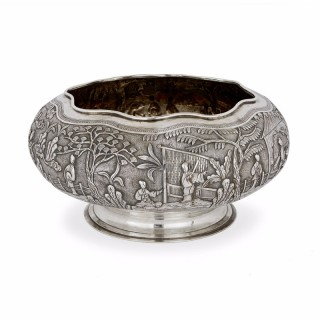 Solid silver Chinese antique bowl, Qing period