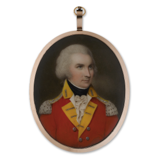 Portrait miniature of an Officer of a Grenadier Company, wearing scarlet coat with yellow facings, silver buttons and epaulettes, his hair worn powdered, c.1785