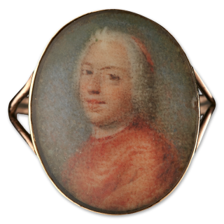 A portrait of Henry Benedict Stuart, Cardinal York (1725-1807), mounted in a gold ring, c.1750