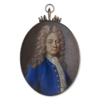 Portrait miniature of a Gentleman, wearing blue coat with brass buttons, white jabot, his hair worn long and powdered, 1716