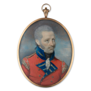 Portrait miniature of an Officer of the light company of an infantry regiment with 'Royal' designation, wearing scarlet coat with blue facings and scarlet and gold lace wings, c.1795