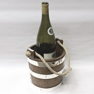 Antique Silver Plated and Wood Drinks Bucket