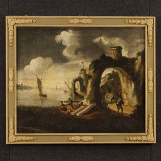 18th Century Painting Seascape With Boats And Fishermen
