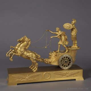 Gilt-Bronze Empire Clock Depicting Minerva Riding the Chariot of Diomedes