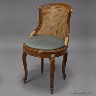 Gilt-Bronze Mounted Caned Back Chair