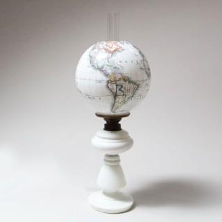 A rare patent opaline globe lamp