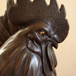 A fine Japanese bronze Cockerel, Meiji period