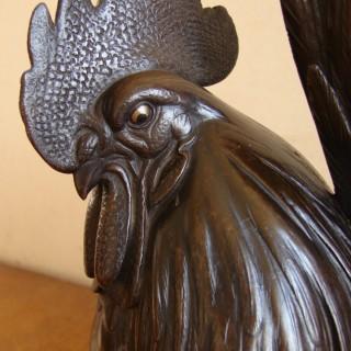 A fine Japanese bronze Cockerel, Meiji period