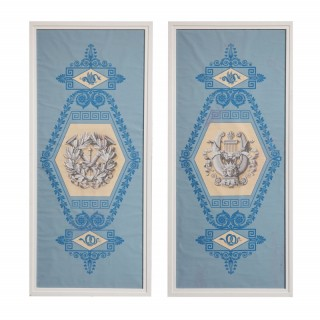 A pair of Charles X blue ground martial papier peint panels