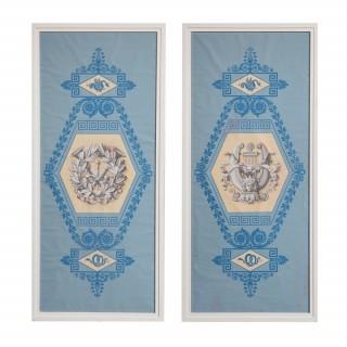 A pair of Charles X blue ground martial papier peint panels