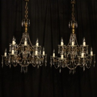 Italian Pair Gilded 12 Light Antique Chandeliers