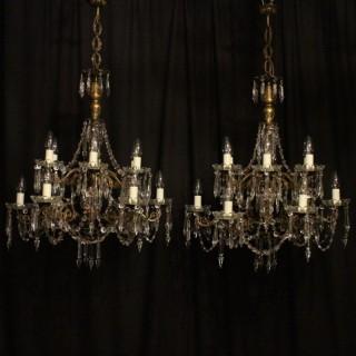 Italian Pair Gilded 12 Light Antique Chandeliers