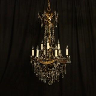Italian Florentine 12 Light Antique Chandelier