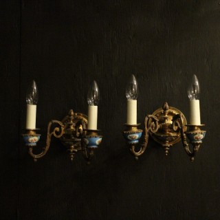 French Pair Of Gilded Sevres Wall Sconces