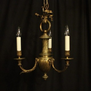 French Bronze Triple Light Antique Chandelier