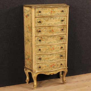 20th Century Venetian Lacquered Tallboy With Floral Decorations