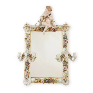 Meissen porcelain antique mirror with candle holders
