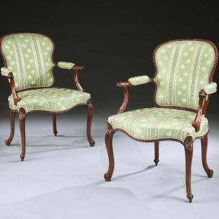 A Set of Four George III Mahogany Armchairs