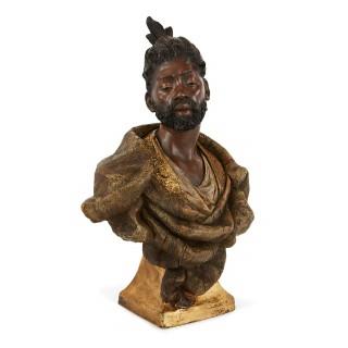 Antique Orientalist terracotta bust of a man by Goldscheider