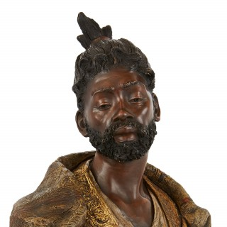 Antique Orientalist terracotta bust of a man by Goldscheider