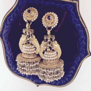 Karanphool Jhumki. Indian Gold tiered Drop Earrings