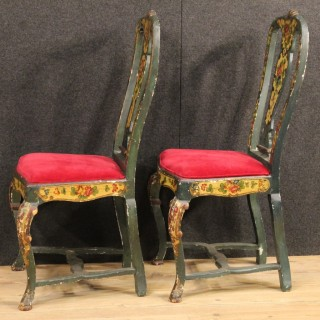20th Century Pair Of Venetian Lacquered And Painted Chairs