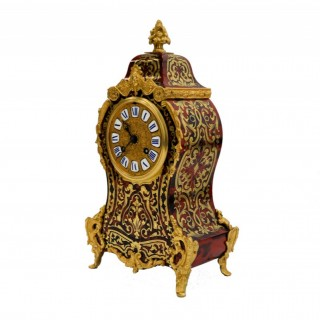 ANTIQUE RED TORTOISESHELL & CUT BRASS BOULLE MANTEL CLOCK