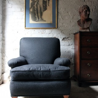 A Very Deep & Comfortable Milled Wool Upholstered Country House Armchair c.1905