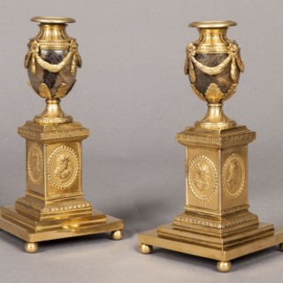 Pair of Blue-John and Ormolu Candle Vases by Matthew Boulton