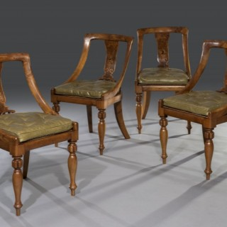 George IV Late Regency Burr Elm Marquetry Inlaid 'Curricle' Bergère Tub-Shaped Chairs