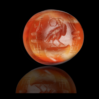 Roman carnelian intaglio with an eagle