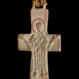 Double-sided Byzantine bronze cross