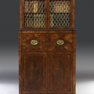 George III Sheraton Period 18th Century Satinwood Inlaid Secrétaire Dwarf Bookcase