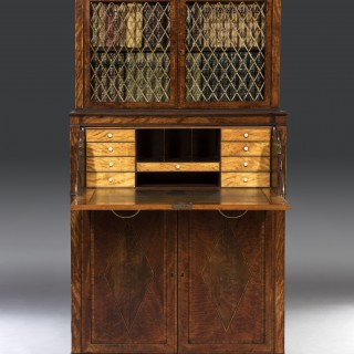 George III Sheraton Period 18th Century Satinwood Inlaid Secrétaire Dwarf Bookcase