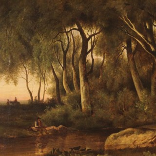 19th Century French Wooded Landscape Painting Signed At The Bottom Right