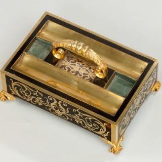 A stunning antique Regency boulle work desk tray.