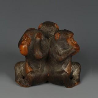 Japanese wood Okimono of three monkeys