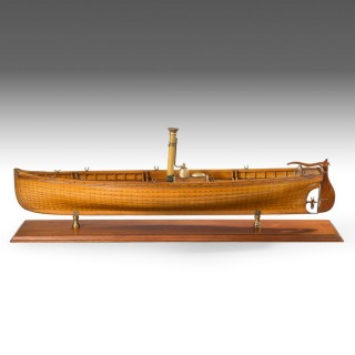 A fine builders's model of a steam launch by Thomas Orr.
