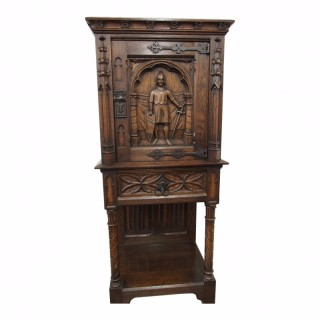 Gothic Style Carved Oak Cabinet in Stand