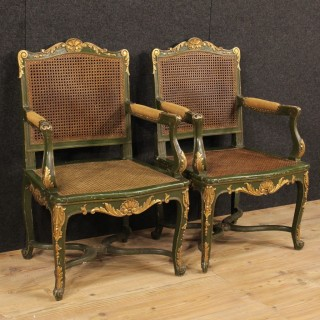 20th Century Pair Of French Armchairs In Lacquered And Gilt Wood