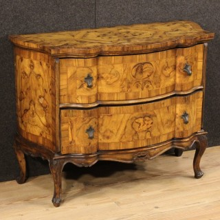 20th Century Small Dresser In Walnut And Burl